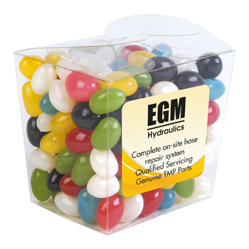 AssortedColourMiniJellyBeansinClearMiniNoodleBox