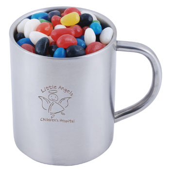 AssortedColourMiniJellyBeansinDoubleWallStainlessSteelBarrelMug