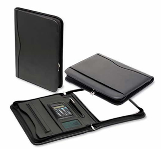 Bonded-Leather-A4-Zippered-Compendium-with-Calculator